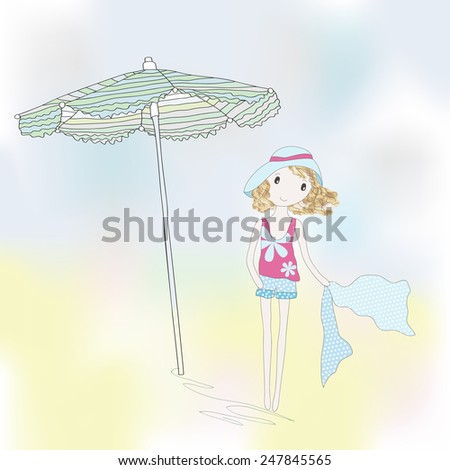 Cute girl on a seaside. Hand-drown illustration. - stock photo