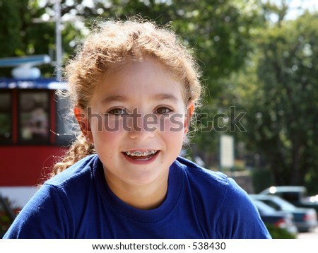 Cute girl outdoors - stock photo