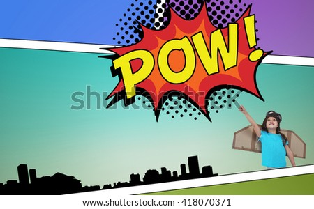 Cute girl pretending to be pilot against the word pow - stock photo