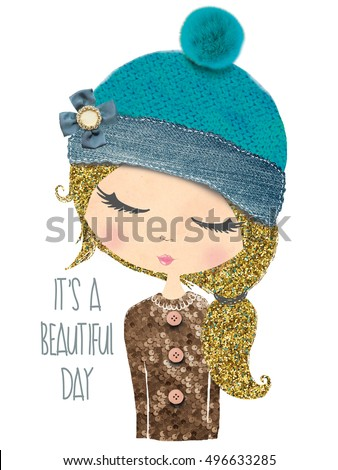 cute girl print/T-shirt print/Book illustrations for children/Romantic hand drawing poster/cartoon character/For apparel or other uses,in picture/collage girl