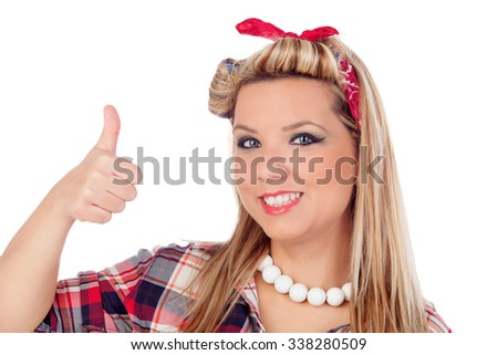 Cute girl saying Ok in pinup style isolated on a white background - stock photo