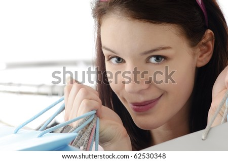 Cute girl shopping - stock photo
