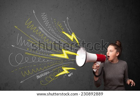 Cute girl shouting into megaphone with hand drawn lines and arrows on grungy background - stock photo