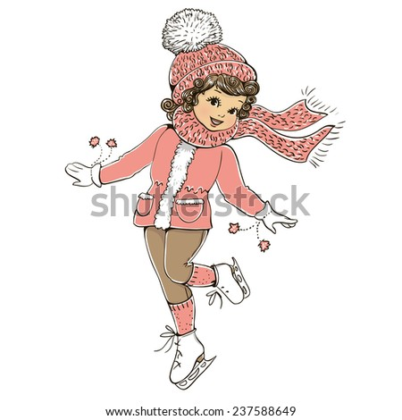 Cute girl skates.  - stock photo
