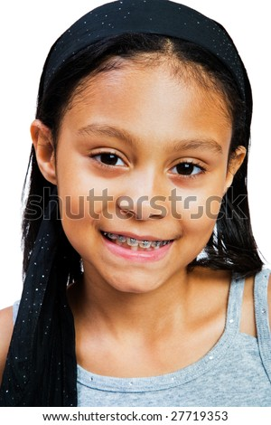 Cute girl smiling isolated over white
