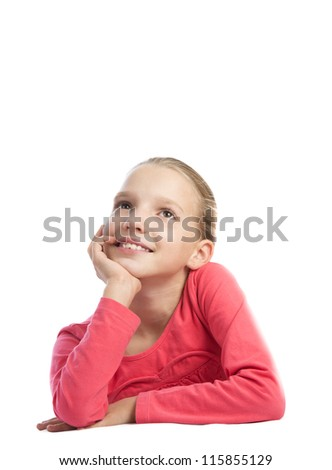 Cute girl thinking over a white background - stock photo