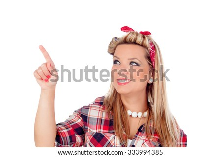 Cute girl touching something with her finger in pinup style isolated on a white background - stock photo