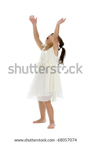 cute girl trying to catch something, isolated on white background - stock photo