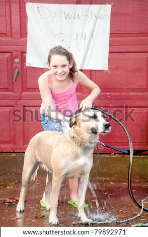 Cute girl washing dog to earn money - stock photo
