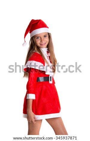 Cute girl wearing a red and white Christmas Santa hat and suit, isolated on white background - stock photo