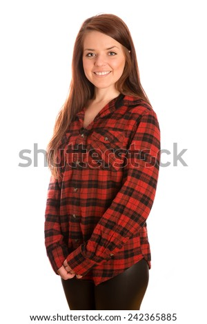 Cute Girl Wearing Flannel - This is a shot of a cute young woman wearing a flannel shirt and black leather pants. Shot on a white background. - stock photo