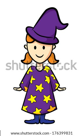 cute girl wearing witch costume - stock photo