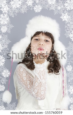 cute girl white dressing blow snowflakes, christmas winter