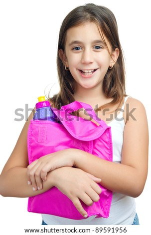 Cute  girl with a colorful lunch bag isolated on a white background - stock photo