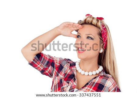 Cute girl with blue eyes in pinup style looking at side isolated on a white background - stock photo