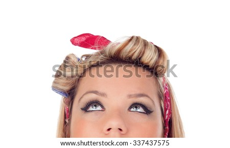 Cute girl with blue eyes in pinup style looking at up isolated on a white background - stock photo