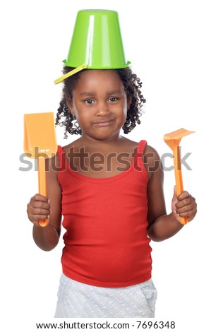 Cute girl with bucket in her head isolated on white