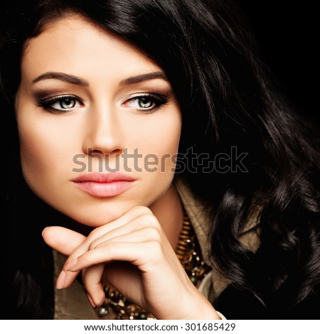 Cute Girl with Curly Hairstyle. Fashion Portrait - stock photo