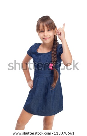 Cute girl with finger up isolated on white background