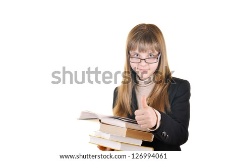 cute girl with glasses on a white background holding a book - stock photo