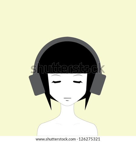 Cute girl with headphones listening to music - stock photo