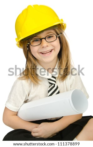 Cute girl with helmet on white - stock photo