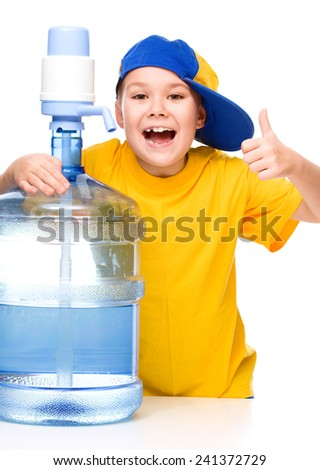 Cute girl with large water bottle, isolated over white - stock photo