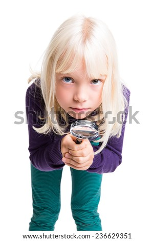cute girl with magnifier on isolated background