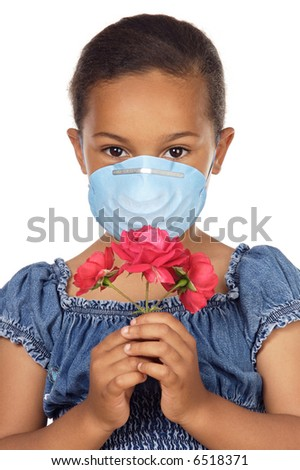 Cute girl with mask isolated in white - stock photo