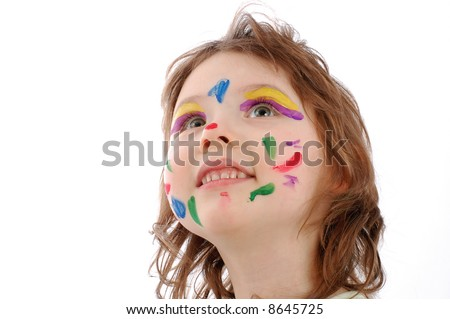cute girl with painted face, isolated on white - stock photo