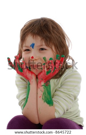 cute girl with painted hands and face, isolated on white - stock photo