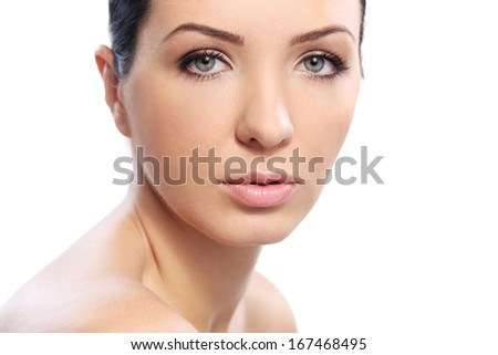 Cute girl with perfect skin and beautiful face - stock photo
