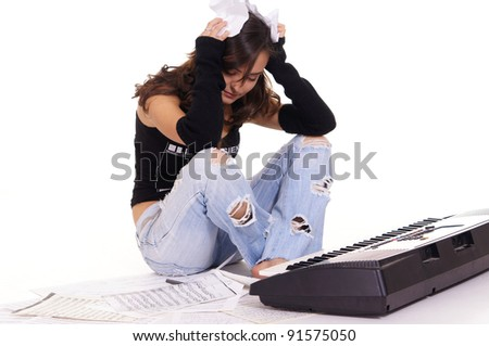 cute girl with piano and texts on white