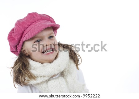 cute girl with pink hat
