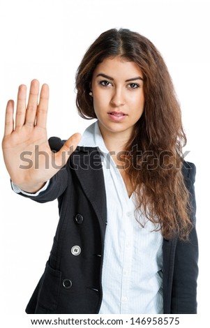 Cute Girl with stop hand isolated on white background - stock photo