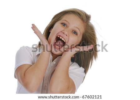 cute girl with surprised expression on white background