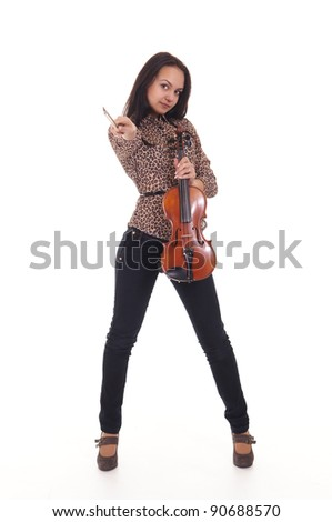 cute girl with violin on a white