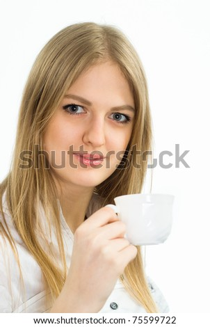 cute girl with white cup on white background