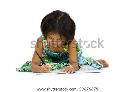 cute girl writing something, isolated on white background - stock photo