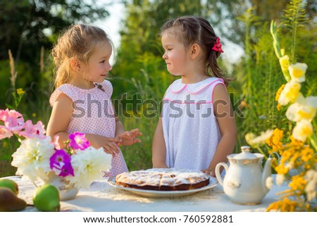 Cute girls having picnic