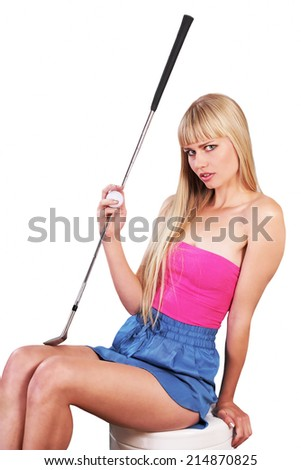 Cute golfer holding club and ball - stock photo