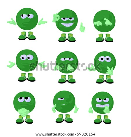 Cute green emoticon art illustration on a white background - stock photo