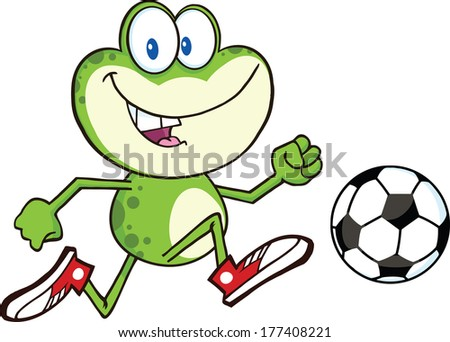 Cute Green Frog Cartoon Character Playing With Soccer Ball. Raster Illustration Isolated on white - stock photo