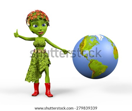 Cute green girl wearing a dress of leaves and flowers giving a thumbs up next to an earth globe. - stock photo