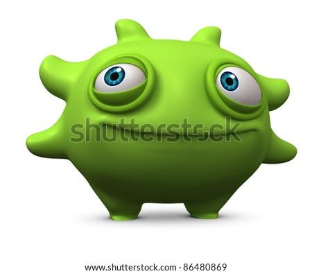 cute green monster - stock photo