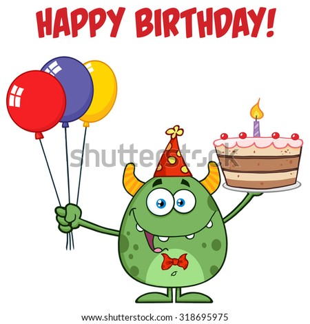 Cute Green Monster Holding Up A Colorful Balloons And Birthday Cake. Raster Illustration Isolated On White With Text - stock photo