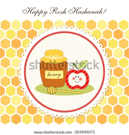 Cute greeting card Happy Rosh Hashanah (Jewish New Year) with traditional honey jar, stick and apple on honeycombs background