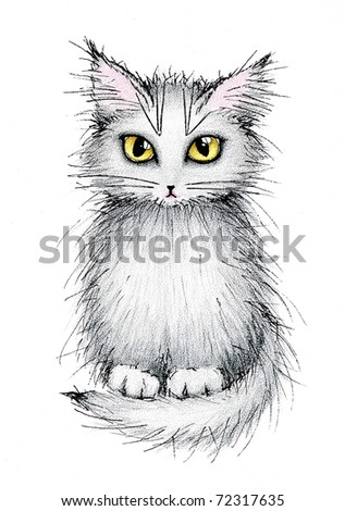 cute grey cat on white background - stock photo