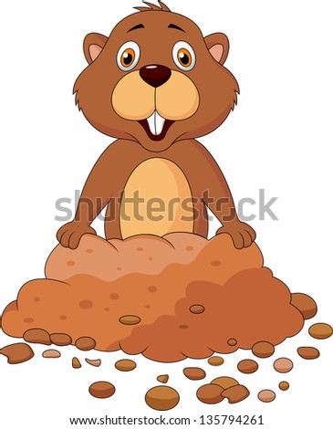 Cute groundhog cartoon - stock photo