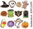 Cute Halloween Cookie Icons - stock vector